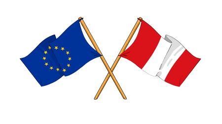 truce: cartoon-like drawings of flags showing friendship between EU and Peru Stock Photo