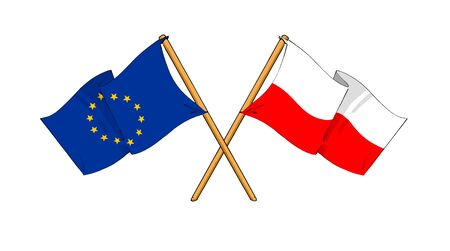 cartoon-like drawings of flags showing friendship between EU and Poland photo