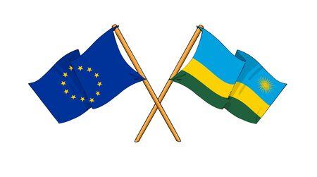 truce: cartoon-like drawings of flags showing friendship between EU and Rwanda
