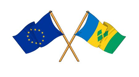 truce: cartoon-like drawings of flags showing friendship between EU and Saint Vincent and the Grenadines