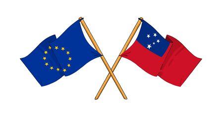 samoa: cartoon-like drawings of flags showing friendship between EU and Samoa