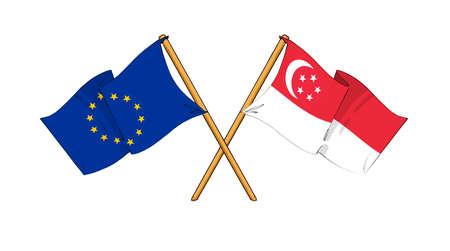 singaporean flag: cartoon-like drawings of flags showing friendship between EU and Singapore