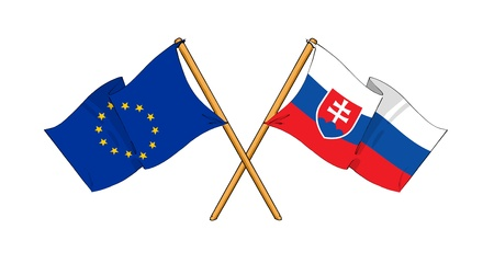cartoon-like drawings of flags showing friendship between EU and Slovakia