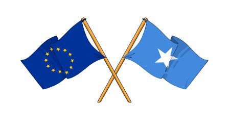 somalian flag: cartoon-like drawings of flags showing friendship between EU and Somalia Stock Photo