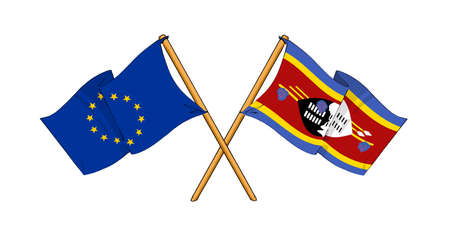 cartoon-like drawings of flags showing friendship between EU and Swaziland