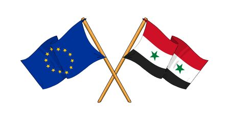 truce: cartoon-like drawings of flags showing friendship between EU and Syria Stock Photo