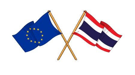 cartoon-like drawings of flags showing friendship between EU and Thailand Stock Photo