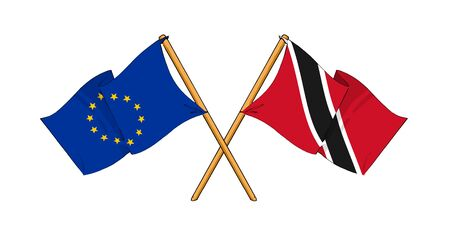 trinidadian: cartoon-like drawings of flags showing friendship between EU and Trinidad and Tobago