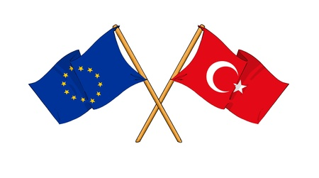 eu: cartoon-like drawings of flags showing friendship between EU and Turkey