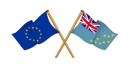 truce: cartoon-like drawings of flags showing friendship between EU and Tuvalu Stock Photo