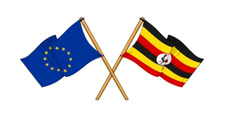 ugandan: cartoon-like drawings of flags showing friendship between EU and Uganda