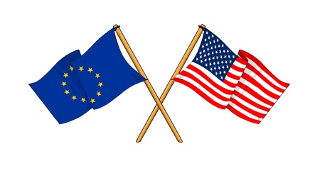eu: cartoon-like drawings of flags showing friendship between EU and United States