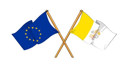 cartoon-like drawings of flags showing friendship between EU and Vatican City Stock Photo