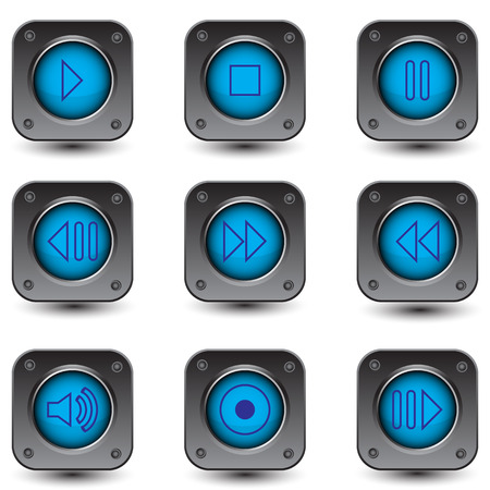 ビデオおよび音楽プレーヤーのボタンのセット  イラスト・ベクター素材