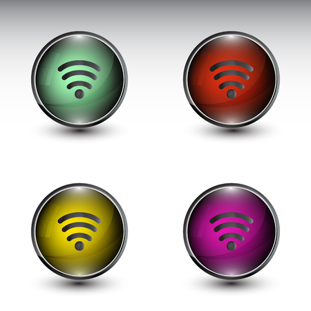 set of wifi web buttons vector