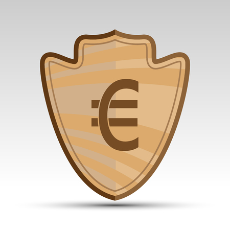 euro sign: vector shield with euro sign for you project Illustration