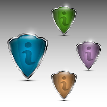Set of different colored i for information shield shaped signs. Vector illustration. Çizim