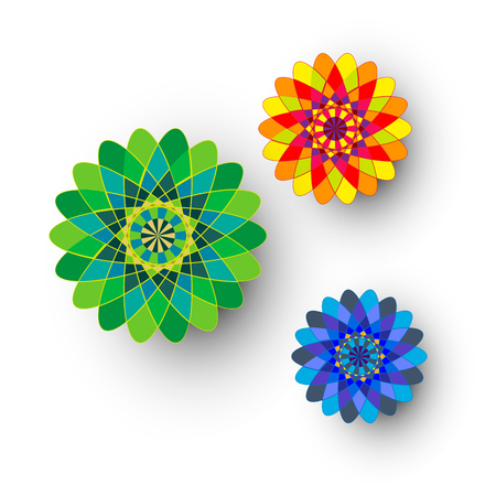 Vector illustration of different colored kaleidoscopic ornamental flowers isolated on white. Иллюстрация
