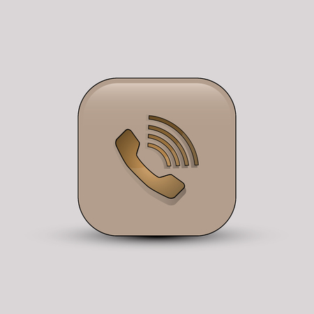 old telephone: A Vector illustration of beige colored square shaped phone call icon. Illustration