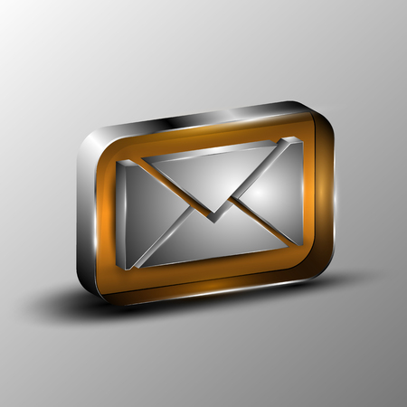 The vector 3d button with envelope symbol. Vector illustration.