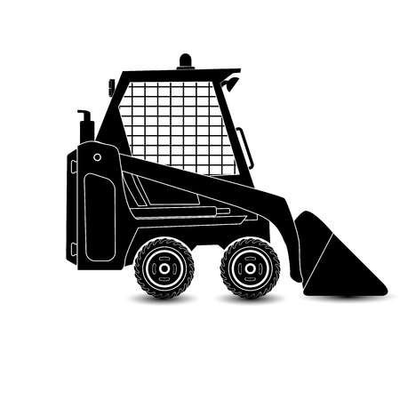 The vector isolated compact excavator.Black silhouette eps8 Illustration