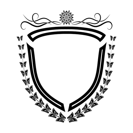 The vector isolated heraldic shield retro decoration elements. Illustration