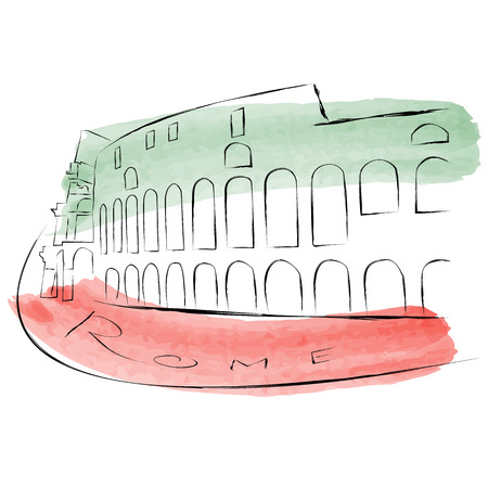 The Colosseum is painted in watercolors in national colors