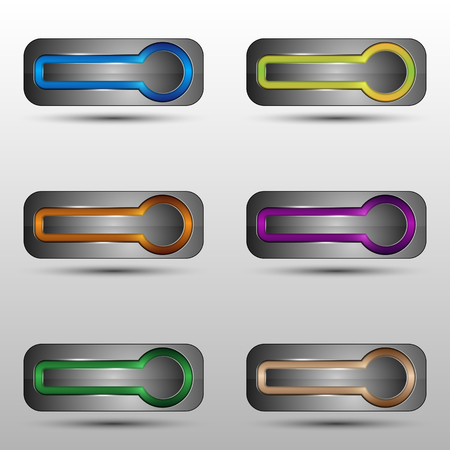 The vector set of metallic buttons with neon light