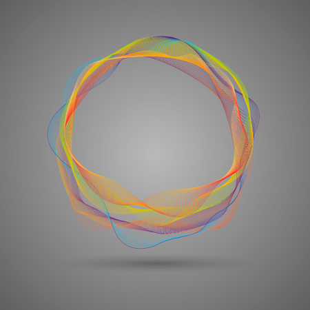 composition of glowing abstract blend circle multicolored lines on a dark background. Çizim
