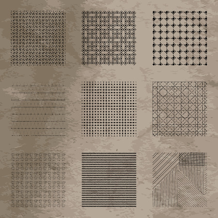 Set of vector geometric grunge patterns on textured background.Damaged grids Çizim