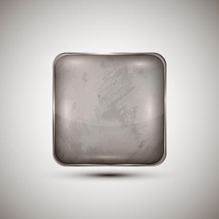 Square template grunge texture vector button.Cement,cardboard.Concept design Çizim