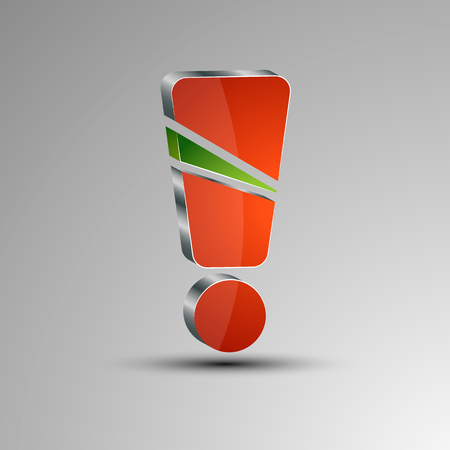 3D exclamation mark with a green section in the middle