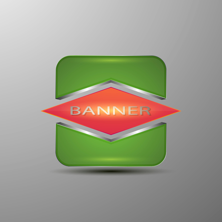 Concept banner design.3d green box with a magenta rhomb in the middle