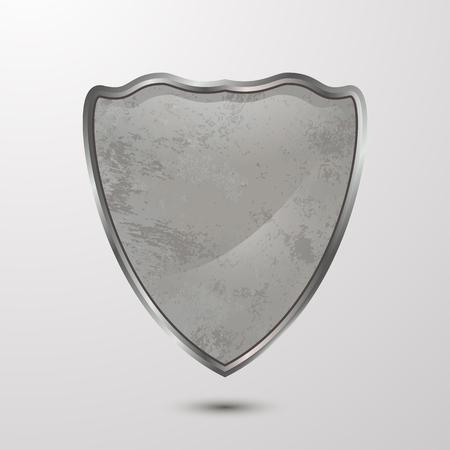 Protection.Vector textured 3D shield.Cardboard,cementSymbol templateConcept design