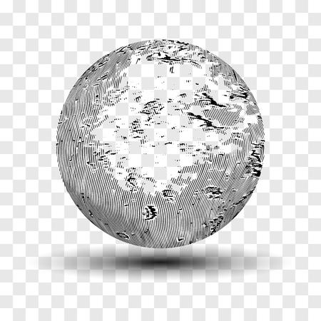 Striped 3d sphere.Distressed monochrome texture.Grunge vector illustration