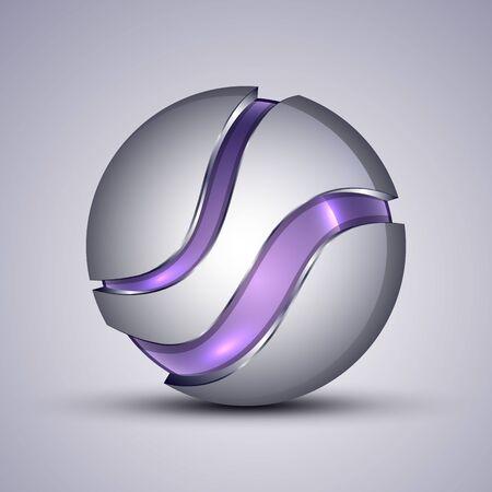 3d logo.Vector illustration of purple colorful sphere as emblem.
