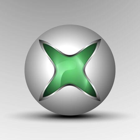 3d  Vector illustration of green colorful sphere as emblem Çizim