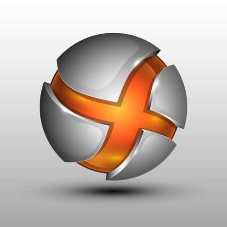 3d  Vector illustration of orange colorful sphere as emblem with grey metal sections Çizim