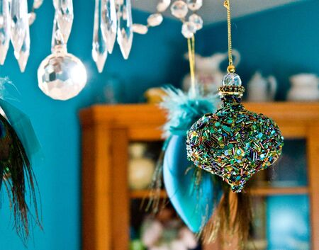blue Christmas ornaments Reklamní fotografie