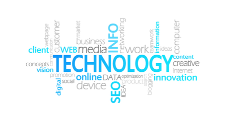 Technology, Animated Typography, word cloud concept illustration