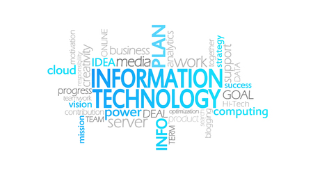 Information Technology, Animated Typography, word cloud concept illustration