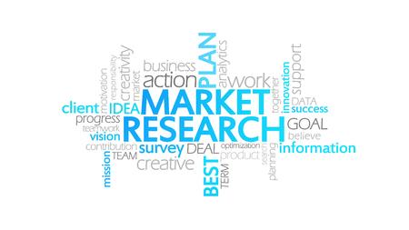 市場研究、タイポグラフィ、アニメーション単語雲の概念図