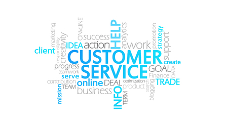 Customer Service, Animated Typography, word cloud concept illustration Stock Photo