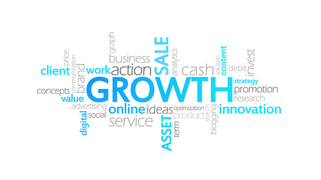 Growth, Typography Animation, word cloud concept illustration Imagens