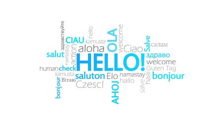 Hello!, Typography Animation, word cloud concept illustration