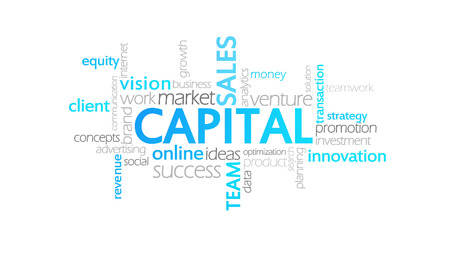 Capital, Animated Typography, word cloud concept illustration