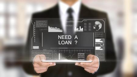 Need a Loan , Hologram Futuristic Interface, Augmented Virtual Reality Stok Fotoğraf