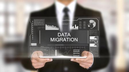 Migración de datos, concepto de interfaz futurista de holograma, realidad virtual aumentada