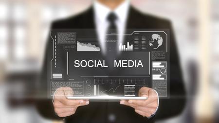 Social Media, Hologram Futuristic Interface Concept, Augmented Virtual Reality Stok Fotoğraf