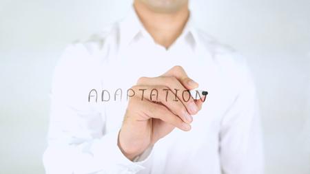 Adaptation, Man Writing on Glass, Handwritten Фото со стока